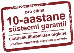 882890714e6 PRO CLIMA õhupidavus- ja tuulepidavustoodete garantii